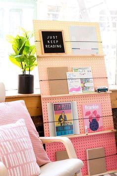 furniture display DIY shelf idea, multi color, Make a Statement With This DIY Ombre Book Shelf via Brit + Co
