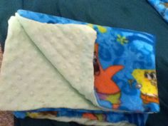 The handmade fleece spongebob and Patrick blanket with a soft and cuddly side! Harps final Present! Success!