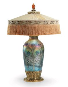 TIFFANY STUDIOS - A FAVRILE GLASS AND GILT-BRONZE TABLE LAMP, CIRCA 1920
