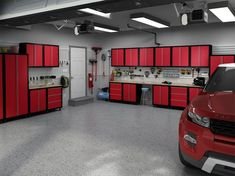 meubles de rangement en rouge, éclairage tamisé et sol gris pour un garage moderne