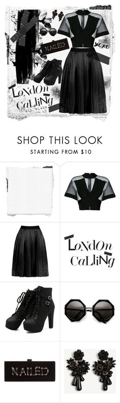"""""""Hot Mesh"""" by scarletj17 ❤ liked on Polyvore featuring Balmain, Damaris, Edie Parker, Ann Taylor, casual, black, allblack and women"""
