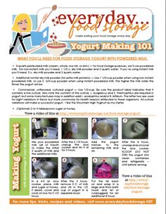 Everyday Food Storage- recipes using long term food storage items. How to make yogurt from powdered milk.