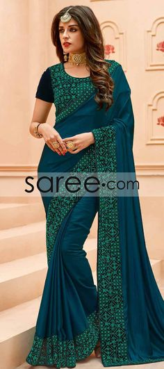 Teal Blue Crepe Silk Saree With Embroidery Work Latest Indian Saree, Indian Sarees, Crepe Silk Sarees, Indian Designer Sarees, Blue Saree, Online Fashion Stores, Saree Collection, Club Dresses, Teal Blue
