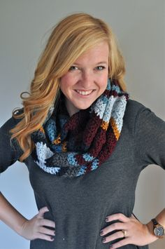 Chevron Crochet Infinity Scarf  Dusty Blue Wine by theComfyTimes, $60.00