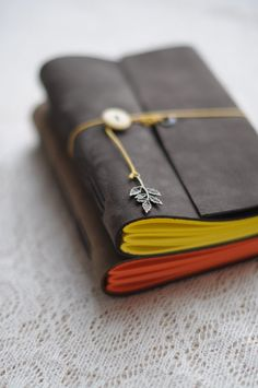 Leather Sketchbook or Notebook, Leather vintage journal - Brown with Yellow…