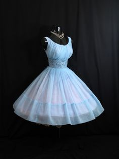 Vintage 1950's 50s Baby Blue Ruched Beaded Rhinestones Chiffon Organza Party Prom Wedding Dress Gown Medium Size