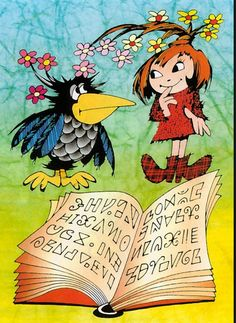 Little witch and her raven Abraxas from Zdeněk Smetana Typography Prints, Betty Boop, Illustrators, Fairy Tales, Nostalgia, Witch, Childhood, Cartoon, Handmade