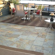 These Multi Slate Outdoor Deck Tiles Easily Snap Together To Create  Beautiful Flooring For Patios