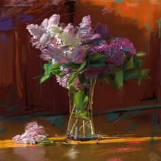 LILAC - Digital painting by Vladimir Budinsky Lilac, Glass Vase, Landscape, Digital, Painting, Home Decor, Art, Art Background, Scenery