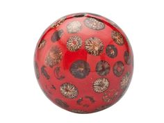 Red Decorative Balls Lot 6 Decorative Balls Craved Wood Resin Animal Print Sphere