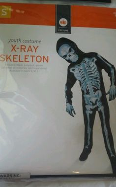 New Boys Child Halloween Costume X-ray Skelton Mask Complete Scary Small 4 6 #CompleteCostume