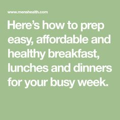 Wan to eat healthy but don't know how to cook? Here's how to prep easy, affordable and healthy breakfast, lunches and dinners for your busy week. Tips For Meal Prepping, Meal Prep Guide, Healthy Meal Prep, Healthy Eating, Healthy Recipes, Lunches And Dinners, Meals, Snack Containers, Yogurt Bowl