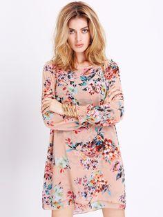 Apricot Challis Long Sleeve Flowery Floral Pastel Dress