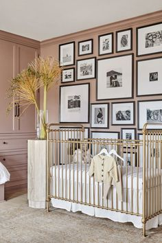 Shay Mitchell Shows Off Her Cheeky Nursery Room Decor - The nursery decor starts with a lavishing soft rose wall tone, splashed with metallic and retro accents. Nursery Room Decor, Nursery Design, Girl Nursery, Bedroom Decor, Cowboy Nursery, Bear Nursery, White Nursery, Nautical Nursery, Kids Bedroom