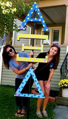 Greek Letters | Alpha Xi Delta | Stacked sorority letters. Such a great idea!