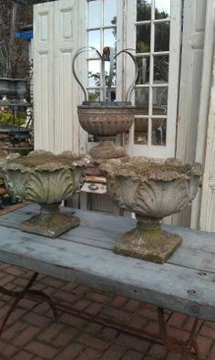Concrete antique urns.