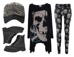 """""""Skull Fashion"""" by rebelsmarket-0 ❤ liked on Polyvore featuring T.U.K., black, rebel, skull, allblack and rebelsmarket"""