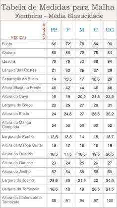 tabela malha - Essa Tabela deverá ser usada para roupas de malha justas ao corpo e para Malha com Média Elasticidade.