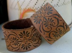 Camel Brown Leather Cuff Bracelet with Hearts & Swirls exclusively at 2 Rusty Nails, www.2RustyNails.etsy.com