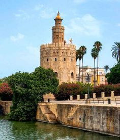 Torre del Oro in Seville - Andalusia, Spain Malaga, Granada, Cool Places To Visit, Places To Travel, Spain And Portugal, Grand Tour, Spain Travel, Beautiful Places, Scenery