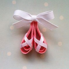 Free Shipping Promo with 15 Dollars or More.. Pretty in Pink Ballerina Slippers Ribbon Sculpture Hair Clip... Great for Dancers on Etsy, $4.01 CAD