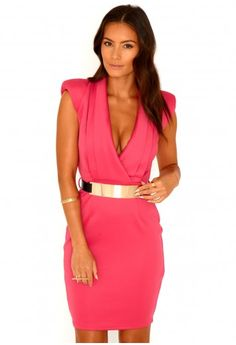 Missguided - Antonia Structured Cross Over Dress In Hot Pink