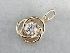 Round Cut Diamond Women's Knot Pendant Necklaces Yellow Gold Over Diamond Knot, Diamond Solitaire Necklace, Diamond Pendant Necklace, Diamond Heart, Round Cut Diamond, Gold Pendant, Round Diamonds, Diamond Jewelry, Wedding Ring Necklaces