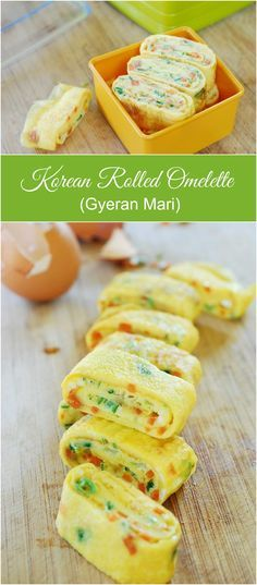 Great as a lunch box item, or a side dish … Gyeran Mari – Korean rolled omelette! Great as a lunch box item, or a side dish to any meal of the day! K Food, Good Food, Yummy Food, Bento Recipes, Cooking Recipes, Cooking Food, Cake Recipes, Korean Side Dishes, Boite A Lunch