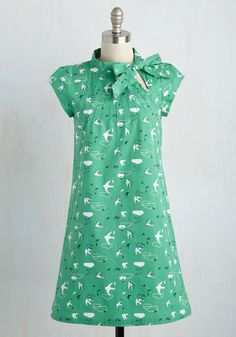 Up, Up, and Amaze Dress in Swallows - Green, White, Print with Animals, Print, Critters, Shift, Short Sleeves, Summer, Woven, Better, Work, Mid-length