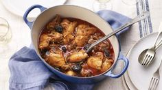 A warmly spiced chicken dish from Kozani, a part of Greece famous for its saffron. This simple stew of chicken thighs is brought to life with saffron, paprika and prunes.