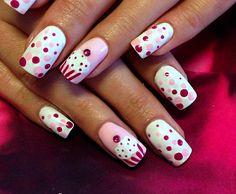 cute milky polka dots nails - 30 Adorable Polka Dots Nail Designs  <3 <3