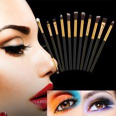 11Pcs Professional Cosmetic Makeup Brush Set Powder Foundation Eyeshadow Eyeliner Eyebrow Make Up Pincel Maquiagem Eye Brush Kit