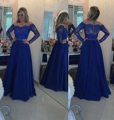 L183 Royal Blue Cheap Chiffon Evening Dress, Long Sleeve Evening Dresses