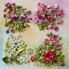 Ribbon embroidery, so realistic I can almost smell the flowers