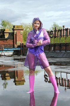 NEW - Funky yet simply designed our new PVC Raincoat is a festival must have. Long enough for total protection but short enough to show off those festival wellies! by kemo-cyberfashion. Vinyl Raincoat, Blue Raincoat, Pvc Raincoat, Plastic Raincoat, Spring Outfit Women, Spring Outfits, Kurta Designs, Festival Wellies, Hunter Wellington Boots