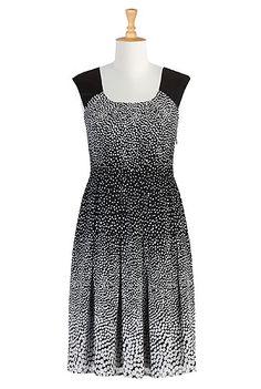 eShakti Pleated dot print dress