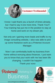 Pinterest Expert Anna Bennett Shares Customer Testimonial. CLICK HERE to learn more about Pinterest one-on-one coaching sessions, Pinterest account management, Pinterest For Business online course and more http://www.whiteglovesocialmedia.com/services-2-social-media-marketing/