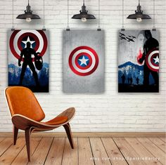 Vintage Movie Art Prints. Avengers Captain by SparkleBarley