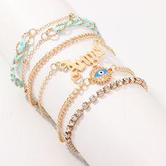 Jewelry retro fashion diamond angel bracelet creative eye pendant 6 pieces NHNZ190759