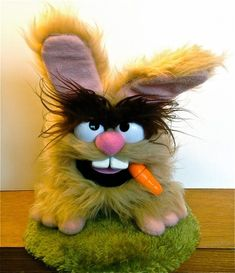 He doesn't look much like and Easter Bunny to me.  The carrot , I think he should trade that in for a smoke or a hat.  Puppet by Banjo Puppets