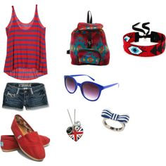 Red & Blue Summer Outfit, created by doobuladoobsington on Polyvore