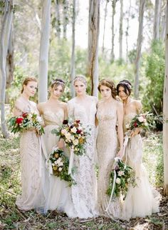 Elegant Bride & Bridesmaids in Glittering Beaded Gowns | Rebecca Yale Photography