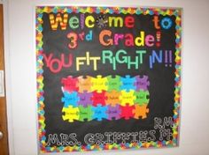"""""""Welcome to __Grade! You Fit Right In!""""...great puzzle-themed back-to-school bulletin board! 3rd Grade Classroom, Classroom Displays, Future Classroom, School Classroom, Classroom Themes, Classroom Organization, School Teacher, Classroom Birthday, School Craft"""