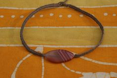 Banded Agate Hemp Choker/Necklace by DiasporaDesigns on Etsy, $14.00
