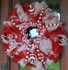 Red and White Deco Mesh Candy Wreath