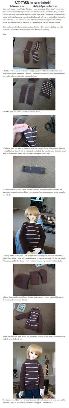 Everyone, I think, has their own version of this, but for the newbies or people who haven't seen it, here's an easy tutorial for making sweaters for your BJDs out of socks. EDIT 05/10/13 - I delete...