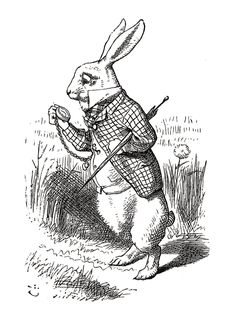 'The White Rabbit' an illustration from 'Alice's Adventures in Wonderland' - Illustrated by John Tenniel http://www.amazon.com/gp/product/1473307171/ref=as_li_tl?ie=UTF8&camp=1789&creative=9325&creativeASIN=1473307171&linkCode=as2&tag=reaboo09-20&linkId=BO7FTOD2DWT2J7WR