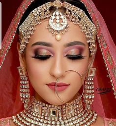 Pin By Sanam Mahtani On Red Bridal Makeup In 2019 Wedding Hypothetically, normal makeup should Bridal Makeup Images, Best Bridal Makeup, Bridal Makeup Looks, Bride Makeup, Bridal Looks, Pakistani Bridal Makeup, Indian Wedding Makeup, Indian Bridal Outfits, Indian Bridal Fashion