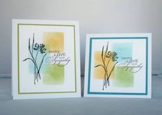 handmade sympathy cards ... three soft colors color blocked ... brush stroke flower silhouettte stamped on top ... like both card formats ... lovley cards!
