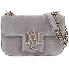 Alexander Mcqueen Suede Chain Flap Satchel Bag ($1,250) ❤ liked on Polyvore featuring bags, handbags, grey, handbag satchel, convertible purse, grey suede handbag, grey handbags and gray suede purse